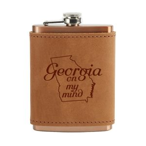 8 oz Copper Plated Stainless Flask with Leather Wrap: GA on my Mind