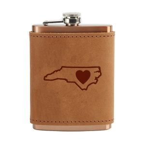 8 oz Copper Plated Stainless Flask with Leather Wrap: NC Heart