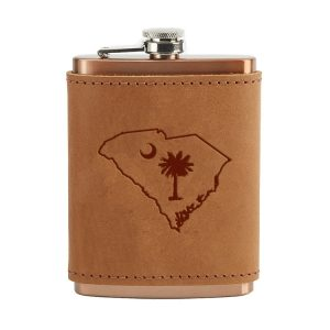 8 oz Copper Plated Stainless Flask with Leather Wrap: SC Palmetto