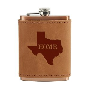 8 oz Copper Plated Stainless Flask with Leather Wrap: TX Home