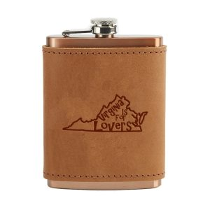 8 oz Copper Plated Stainless Flask with Leather Wrap: VA is for Lovers