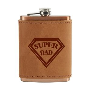 8 oz Copper Plated Stainless Flask with Leather Wrap: Super Dad
