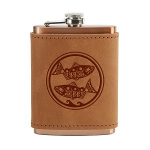 8 oz Copper Plated Stainless Flask with Leather Wrap: Zen Fish / Pisces