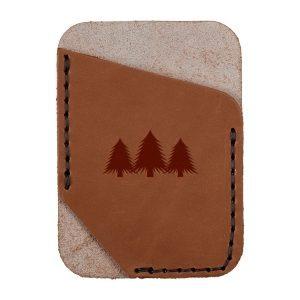 Single Vertical Card Wallet: Pine Trees