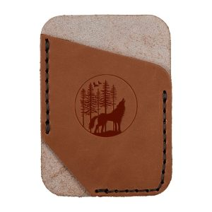 Single Vertical Card Wallet: Howling Wolf