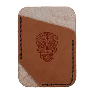 Single Vertical Card Wallet: Candy Skull