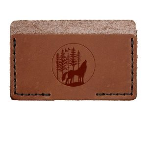 Single Horizontal Card Wallet: Howling Wolf