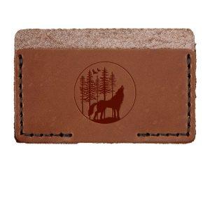 Single Horizontal Card Wallet: Howling Wolf
