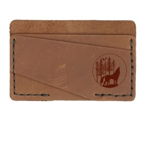 Double Horizontal Card Wallet: Howling Wolf