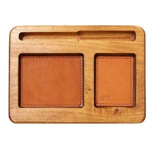 Hardwood Desk Organizer with Leather Inlay: Custom
