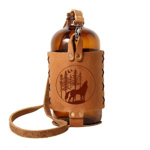 32oz Growlette Tote with Strap: Howling Wolf