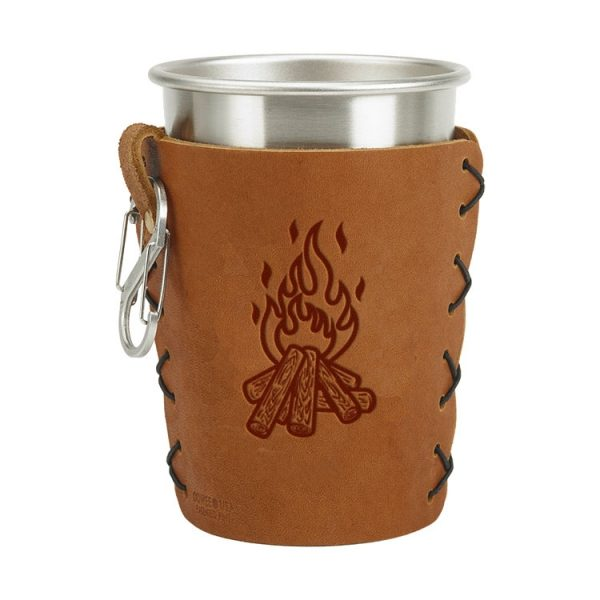 Stainless Steel Pint Holder with Loop & Clip: Camp Fire