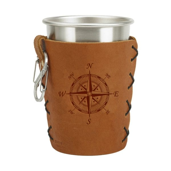 Stainless Steel Pint Holder with Loop & Clip: Compass Rose