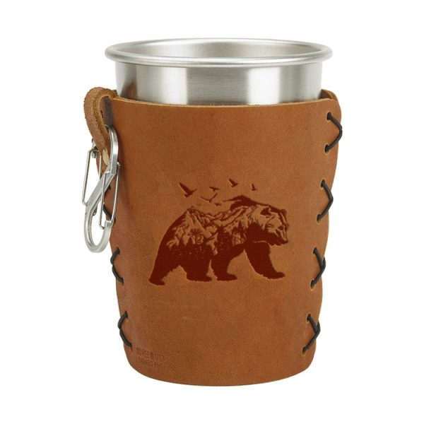Stainless Steel Pint Holder with Loop & Clip: Mountain Bear