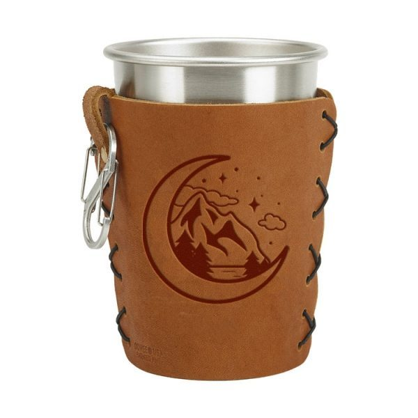 Stainless Steel Pint Holder with Loop & Clip: Mountains & Moon