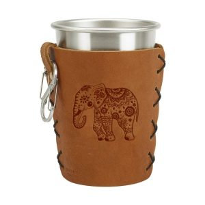Stainless Steel Pint Holder with Loop & Clip: Elephant Mandala
