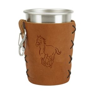 Stainless Steel Pint Holder with Loop & Clip: Horse