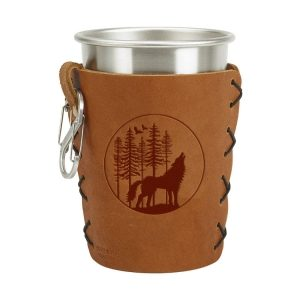 Stainless Steel Pint Holder with Loop & Clip: Howling Wolf
