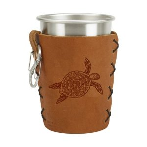Stainless Steel Pint Holder with Loop & Clip: Sea Turtle