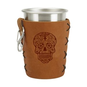 Stainless Steel Pint Holder with Loop & Clip: Candy Skull