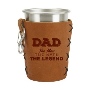 Stainless Steel Pint Holder with Loop & Clip: Dad - Man, Myth, Legend