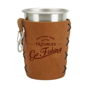 Stainless Steel Pint Holder with Loop & Clip: Go Fishing