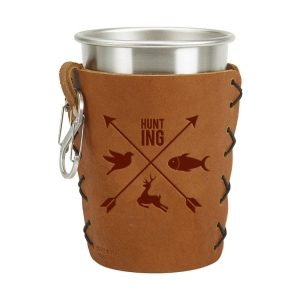 Stainless Steel Pint Holder with Loop & Clip: Hunting Cross
