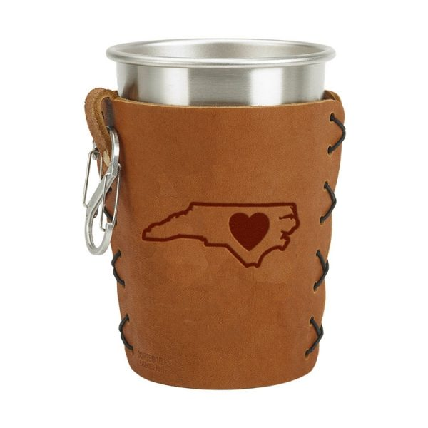 Stainless Steel Pint Holder with Loop & Clip: NC Heart