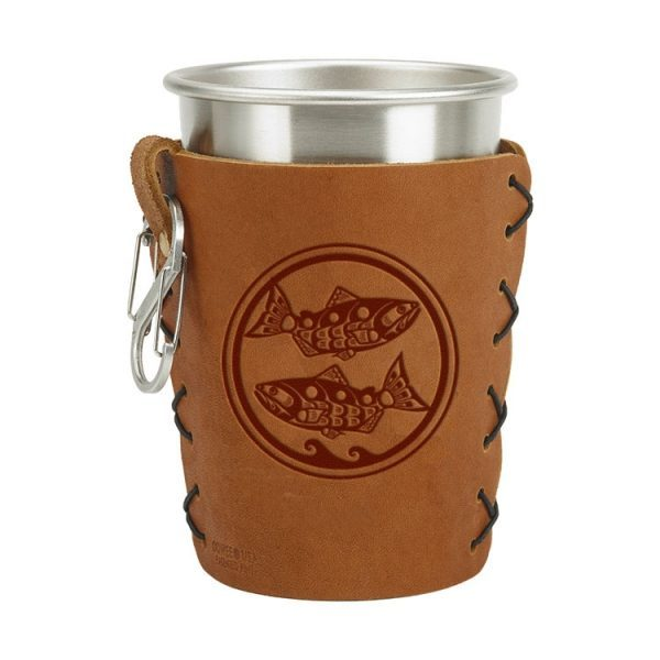 Stainless Steel Pint Holder with Loop & Clip: Zen Fish / Pisces