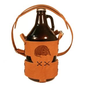 64oz Growler Tote with Strap: Armadillo