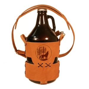 64oz Growler Tote with Strap: Howling Wolf