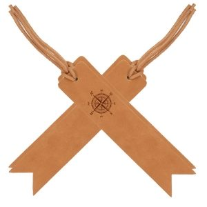 Bookmark with Lace - Medium Brown (Set of 4): Compass Rose