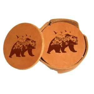 Round Coaster Set: Mountain Bear