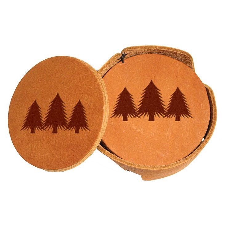 Round Coaster Set: Pine Trees