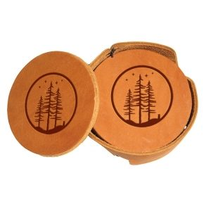 Round Coaster Set: Starry Trees