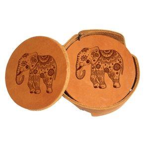 Round Coaster Set: Elephant Mandala