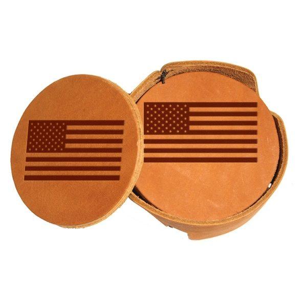 Round Coaster Set: American Flag