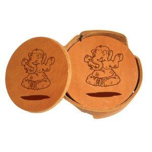 Round Coaster Set: Elephant Buddah