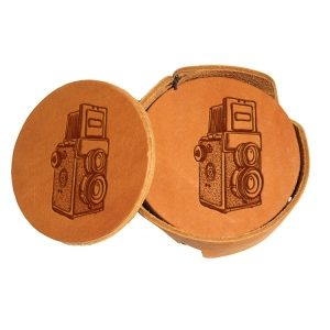Round Coaster Set: Twin Lens Camera