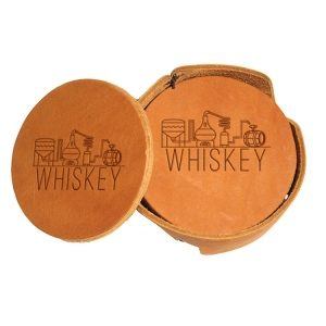 Round Coaster Set: Whiskey