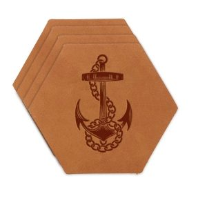 Hex Coaster Set of 4 with Strap: Anchor