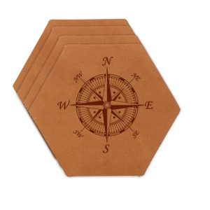 Hex Coaster Set of 4 with Strap: Compass Rose