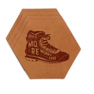Hex Coaster Set of 4 with Strap: Hike More, Worry Less