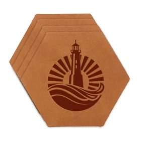 Hex Coaster Set of 4 with Strap: Light House