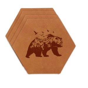 Hex Coaster Set of 4 with Strap: Mountain Bear