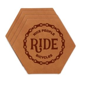 Hex Coaster Set of 4 with Strap: Nice People Ride Bikes