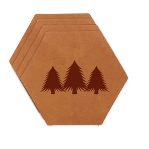 Hex Coaster Set of 4 with Strap: Pine Trees