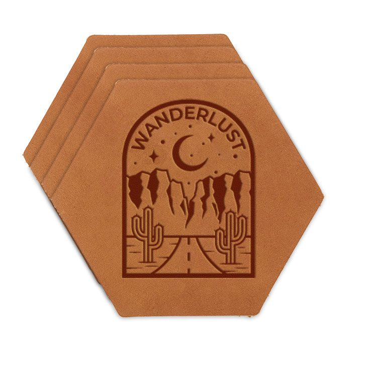 Hex Coaster Set of 4 with Strap: Wanderlust