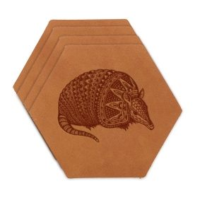Hex Coaster Set of 4 with Strap: Armadillo