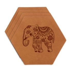 Hex Coaster Set of 4 with Strap: Elephant Mandala